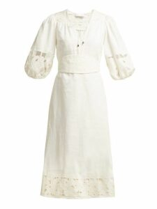 Zimmermann - Juno Embroidered Cut Out Midi Dress - Womens - Cream