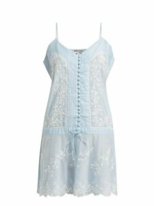 Juliet Dunn - Embroidered Cotton Slip Dress - Womens - Light Blue