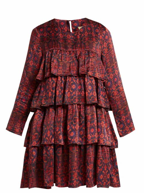 Muzungu Sisters - Jila Hameden Tiered Ruffle Silk Dress - Womens - Red Print