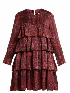Muzungu Sisters - Jila Hameden Tiered Ruffle Silk Dress - Womens - Red Print