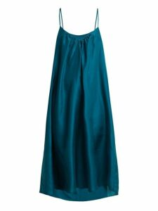 Loup Charmant - V Neck Silk Short Slip - Womens - Dark Green