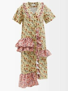 Juliet Dunn - Sleeveless Cotton Dress - Womens - Light Blue