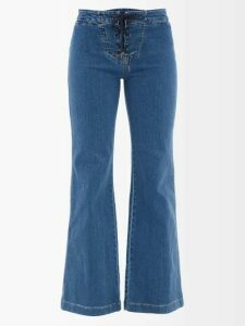 Juliet Dunn - Embroidered Cotton Wrap Dress - Womens - Light Blue