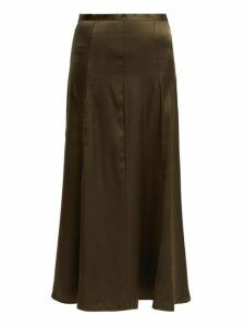 Albus Lumen - Fluir Silk Satin Midi Skirt - Womens - Dark Green