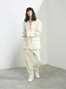 Joseph - Magnus Single Breasted Wool Blend Coat - Womens - White Black