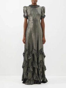 Preen Line - Fringed Cotton Polo Shirt - Womens - Black Multi