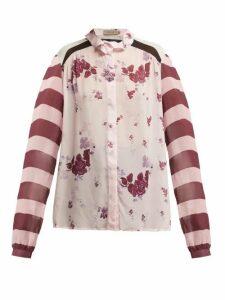 Preen Line - Grace Panelled Chiffon Blouse - Womens - Pink Multi