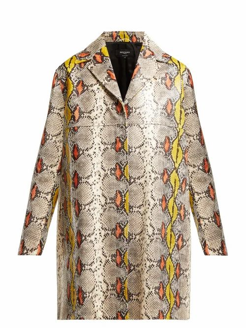 Rochas - Single-breasted Python-effect Leather Coat - Womens - Multi