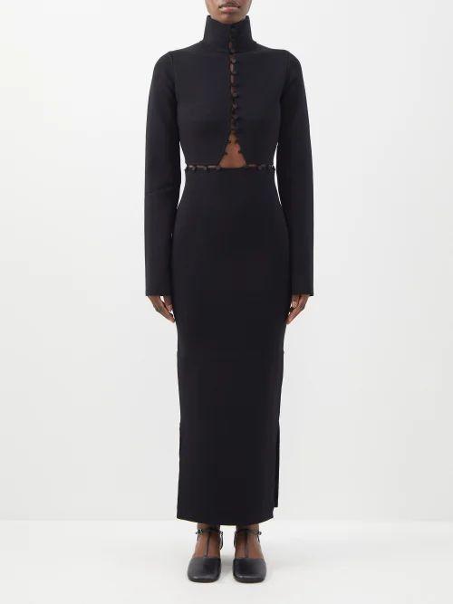 Msgm - Leopard Pattern Sequin Blouse - Womens - Black Silver
