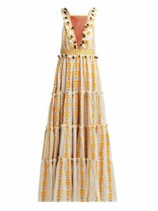 Dodo Bar Or - Alicia Embroidered Cotton Maxi Dress - Womens - Yellow Multi