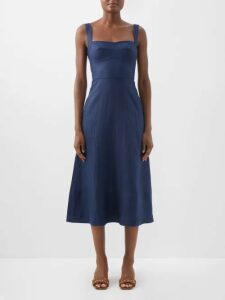 Ganni - Kress Long Sleeved Cotton Shirtdress - Womens - Denim