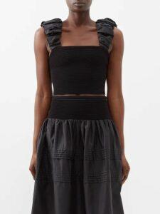 Dodo Bar Or - Constanza Embroidered Cotton Shirtdress - Womens - Black Multi
