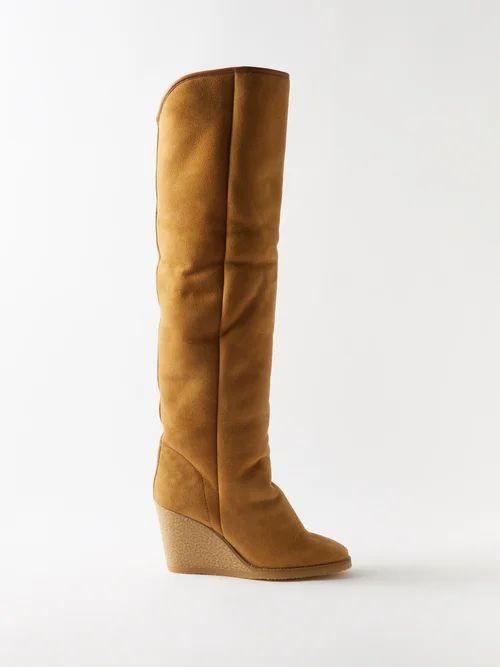 Chloé - High Rise Pleated Silk Midi Skirt - Womens - Brown