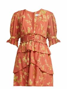Sir - Florentine Floral Print Silk Mini Dress - Womens - Red