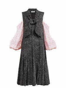 Jw Anderson - Polka Dot Cold Shoulder Dress - Womens - Black Multi