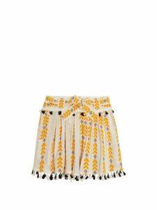 Dodo Bar Or - Ariana Woven Cotton Wrap Mini Skirt - Womens - Yellow Multi