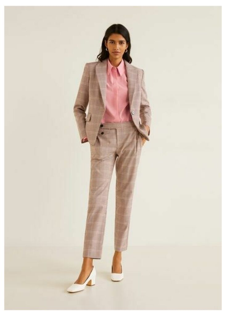 Micro houndstooth suit blazer