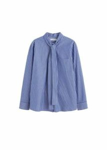 Striped bow cotton shirt