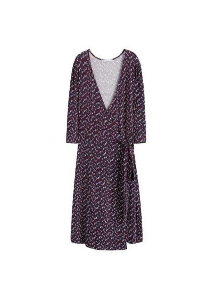 Print wrap dress
