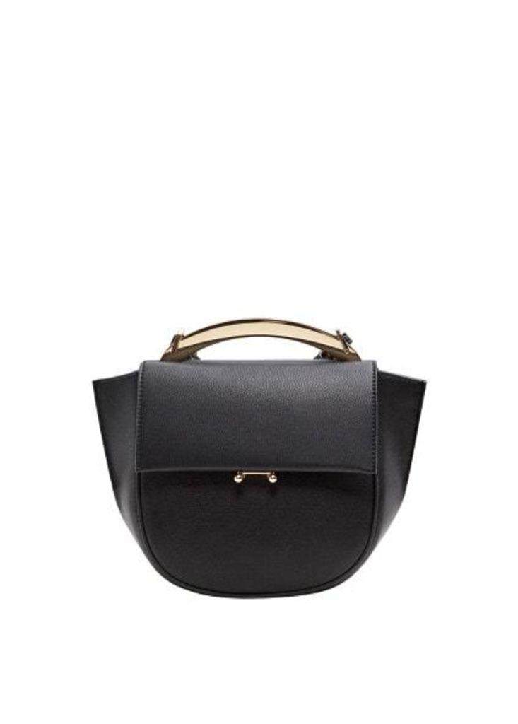 Metallic handle shoulder bag
