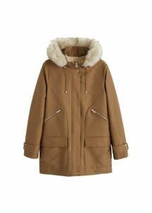 Furry hooded parka