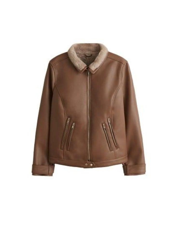 Faux-fur lining biker jacket