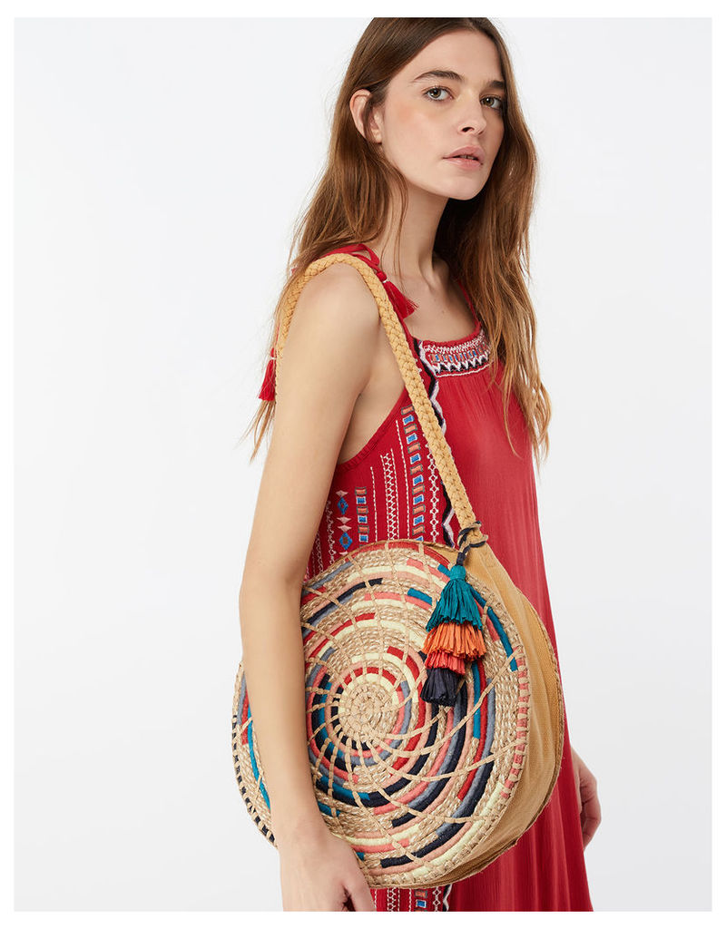 Rayna Rainbow Straw Circle Bag