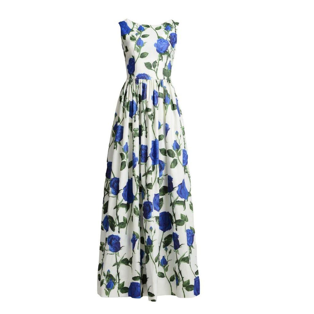 MATSOUR'I - Maxi Dress Diana With Blue Roses