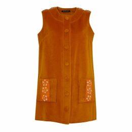 Manley - Tabby Leather Embellished Cashmere Coat Dress Orange