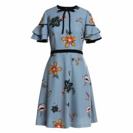 Emily Lovelock - Signature Print Dress Sky Blue