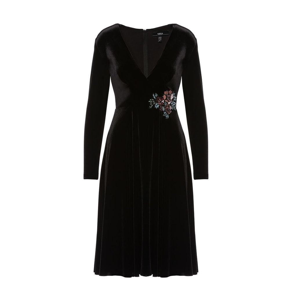 Nissa - Velvet Black Midi Dress