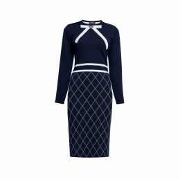 Rumour London - Chloe Bow Jacquard Knitted Dress In Midnight Blue