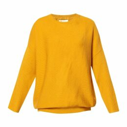 PAISIE - Round Neck Knitted Top With Diagonal Ribbed Detail In Yellow