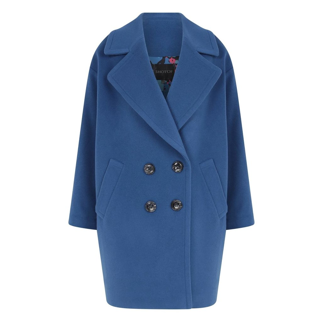 PAISIE - Round Neck Top With Fluted Sleeves & Contrast Edge In Blush & White