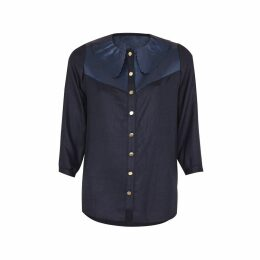Manley - Mia Silk Shirt With Leather Collar Navy