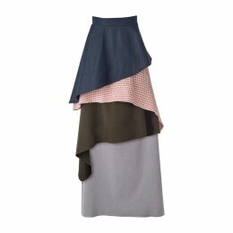 DANEH - Waterfall Skirt Gingham Pink & Blue