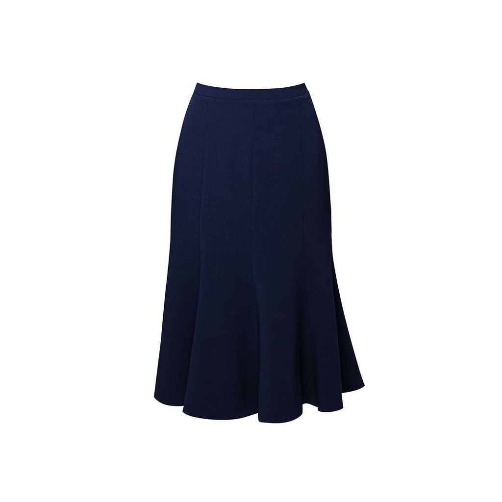 Rumour London - Lucy Wool Midi Skirt In Navy