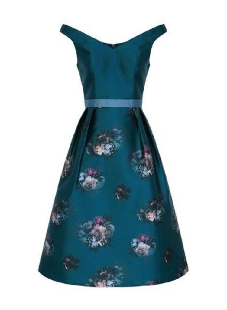 Womens *Chi Chi London Teal Floral Print Midi Skater Dress- Teal, Teal