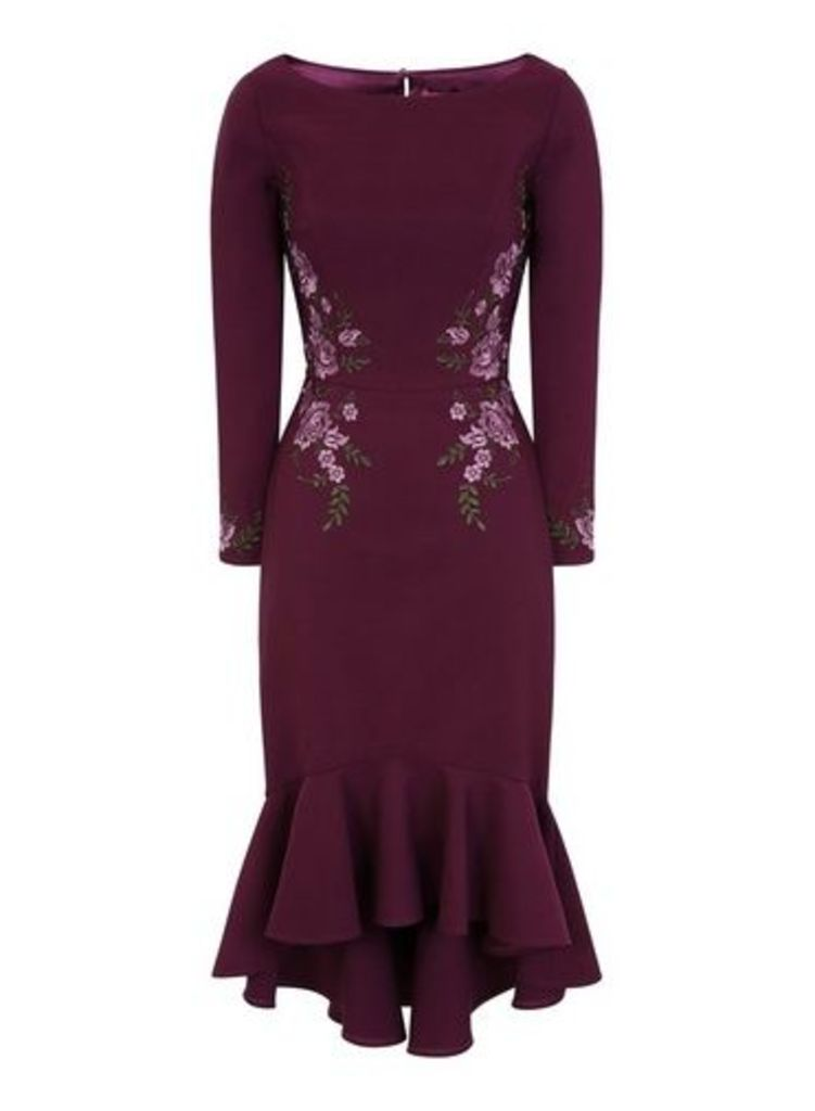 Womens *Chi Chi London Burgundy Embroidered Bodycon Dress- Plum, Plum