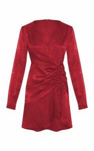 Rust Satin Ruched Frill Hem Shift Dress, Orange
