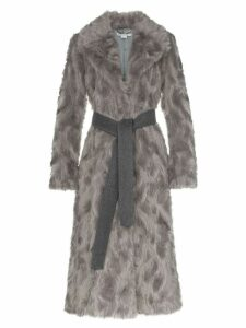 Stella McCartney Faux Fur long belted coat - Grey