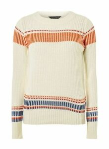 Womens Ivory Engineered Striped Jumper- White, White