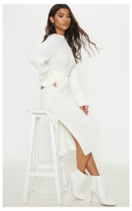 Cream Ribbed Knitted  Midi Skirt, White