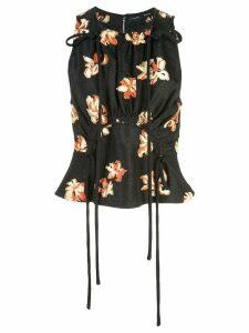 Proenza Schouler Floral Jacquard Tie Detail Top - Black