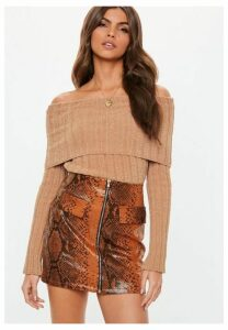 Taupe Chenille Ribbed Fold Over Bardot Jumper, Taupe