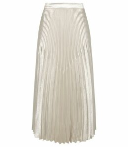 Reiss Isidora - Knife Pleat Skirt in Silver, Womens, Size 14
