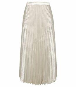 Reiss Isidora - Knife Pleat Skirt in Silver, Womens, Size 14