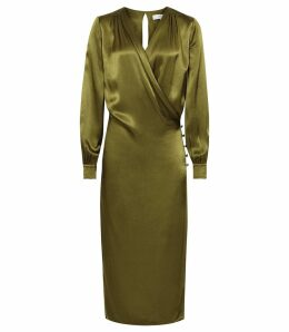 Reiss Renae - Satin Wrap Dress in Olive, Womens, Size 16