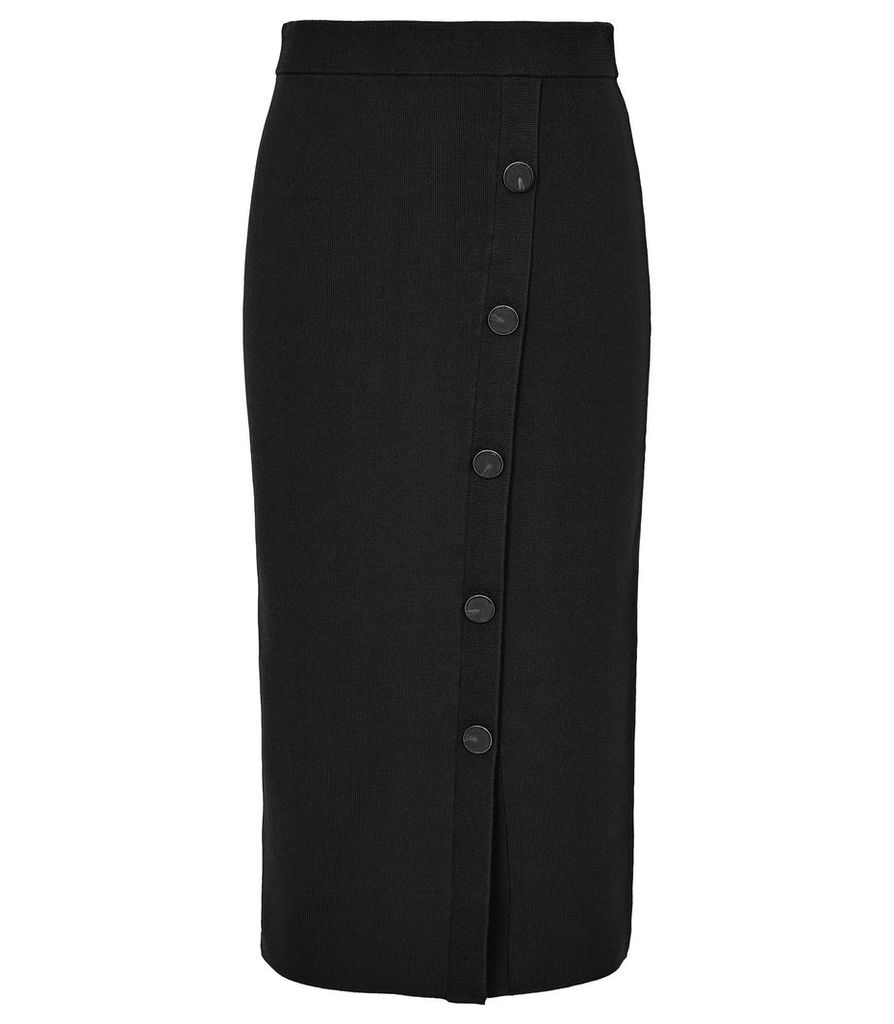 Reiss Hatty - Button Front Pencil Skirt in Black, Womens, Size XXL