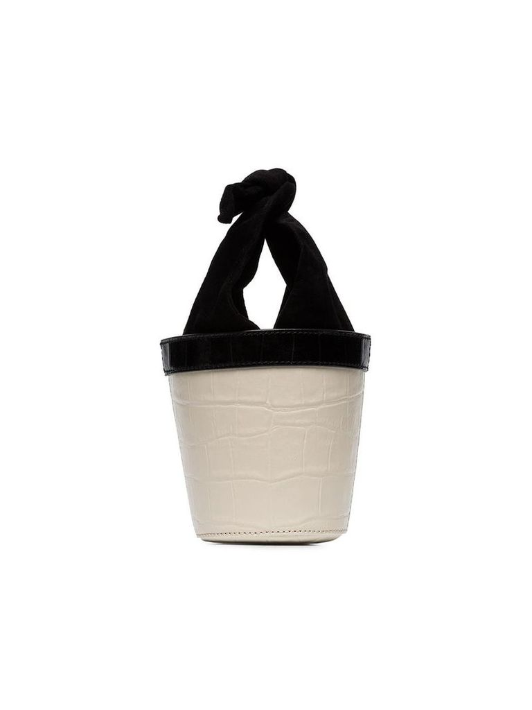 Staud white and black Britt leather mini bucket bag